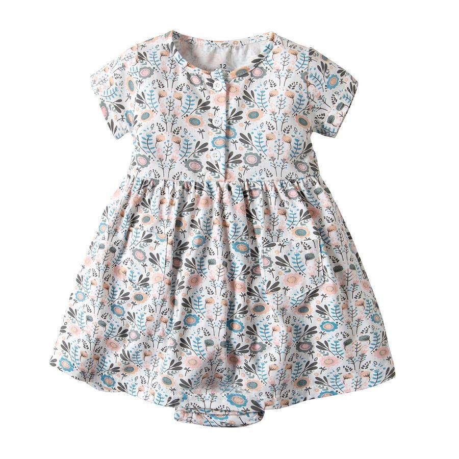 f912292c4da51 スカート付きロンパース 半袖 ワンピース 花柄 ベビー服 子供用 キッズ ...