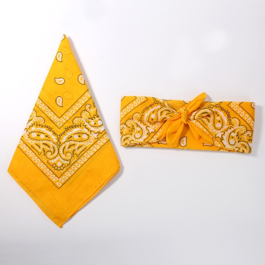 バンダナ ファッション小物 男女 メンズ レディース 子ども ペイズリー 綿混 定番サイズ 53センチ 赤 黄色 9