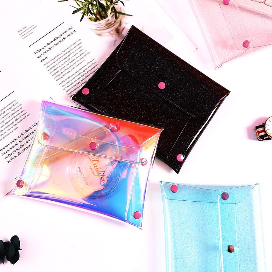 ポーチ 化粧ポーチ 小物入れ コスメ マルチポーチ クリア キラキラ スナップボタン プレゼント ギフト 雑貨 シンプル 2