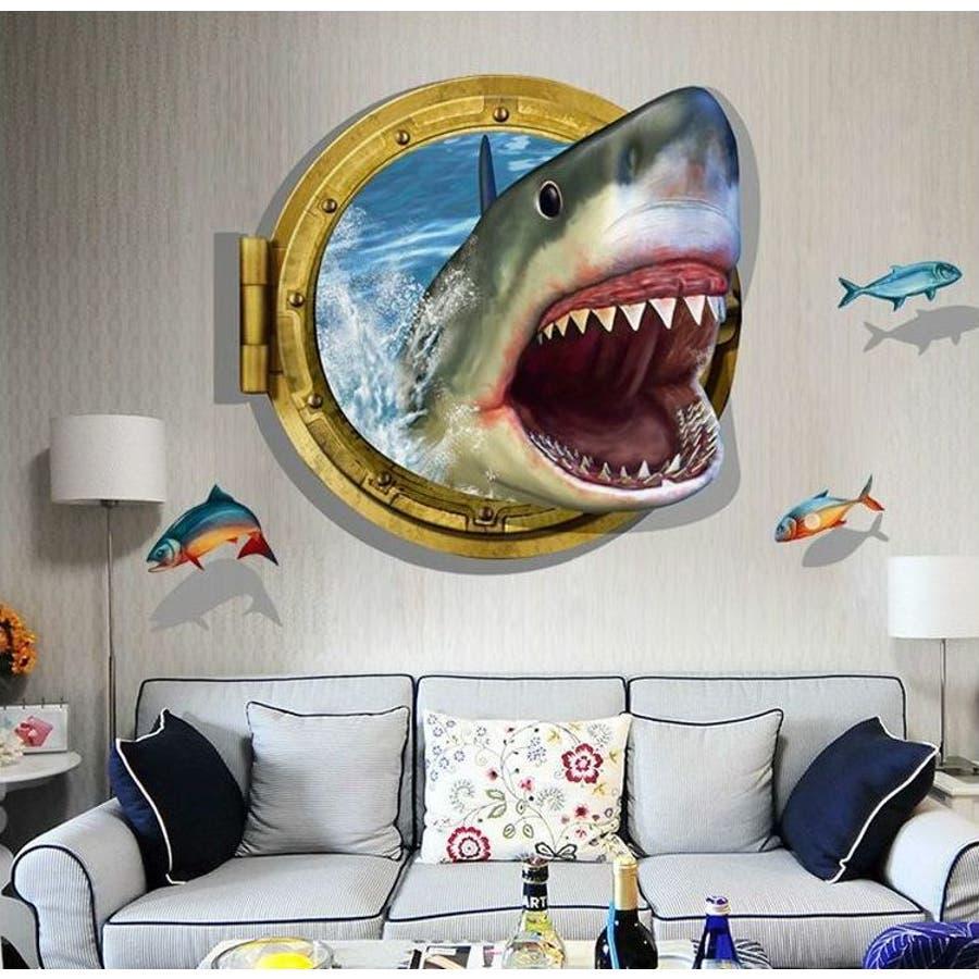 ウォールステッカー 壁紙シール 3d 立体的 飛び出す トリックアート だまし絵 サメ 鮫 シャーク 魚ルームデコレーションウォールデコレーション 壁面装飾 リフォーム パーティー イベント 飾り付け 面白い おもしろい 雑貨 小物インテリア 品番 Fq Plusnao