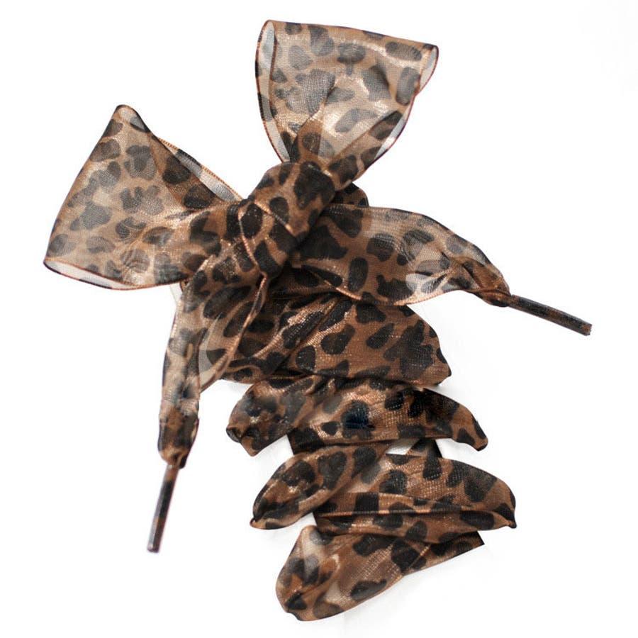 靴紐 くつひも シューレース レディース 女性 女子 幅広リボン ヒョウ柄 豹 レオパード おしゃれ 可愛い オーガンジー風ほどけにくい スニーカー 長さ110cm 幅4cm 6