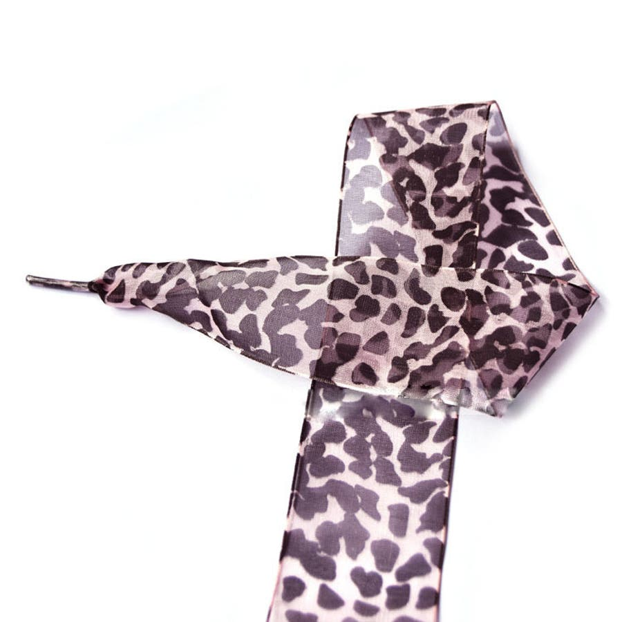靴紐 くつひも シューレース レディース 女性 女子 幅広リボン ヒョウ柄 豹 レオパード おしゃれ 可愛い オーガンジー風ほどけにくい スニーカー 長さ110cm 幅4cm 8