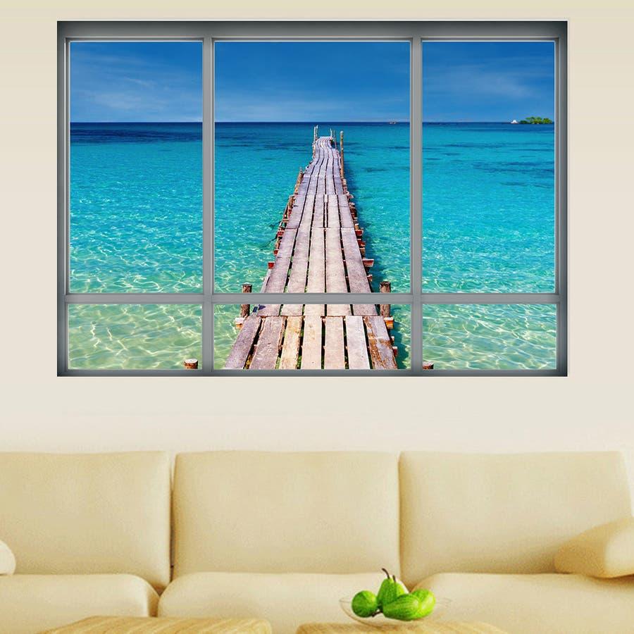 ウォールステッカー 壁紙シール シールタイプ 窓辺 窓枠 景色 風景 3d