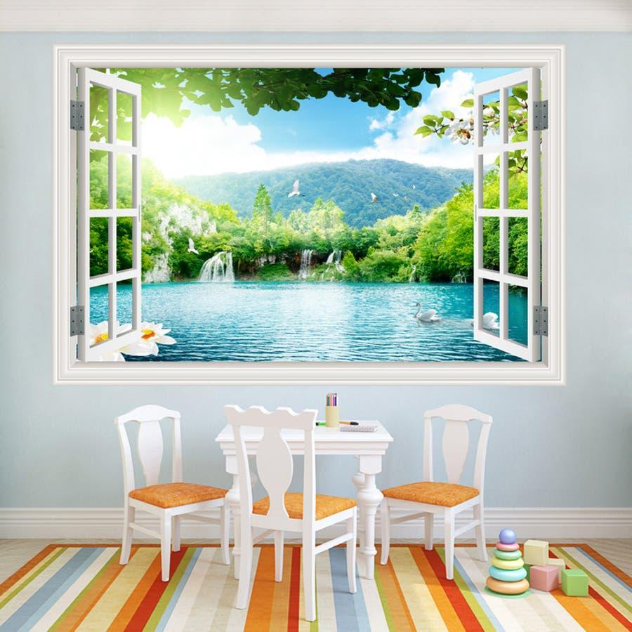 ウォールステッカー 壁紙シール 窓 情景 景色 インテリア リビング