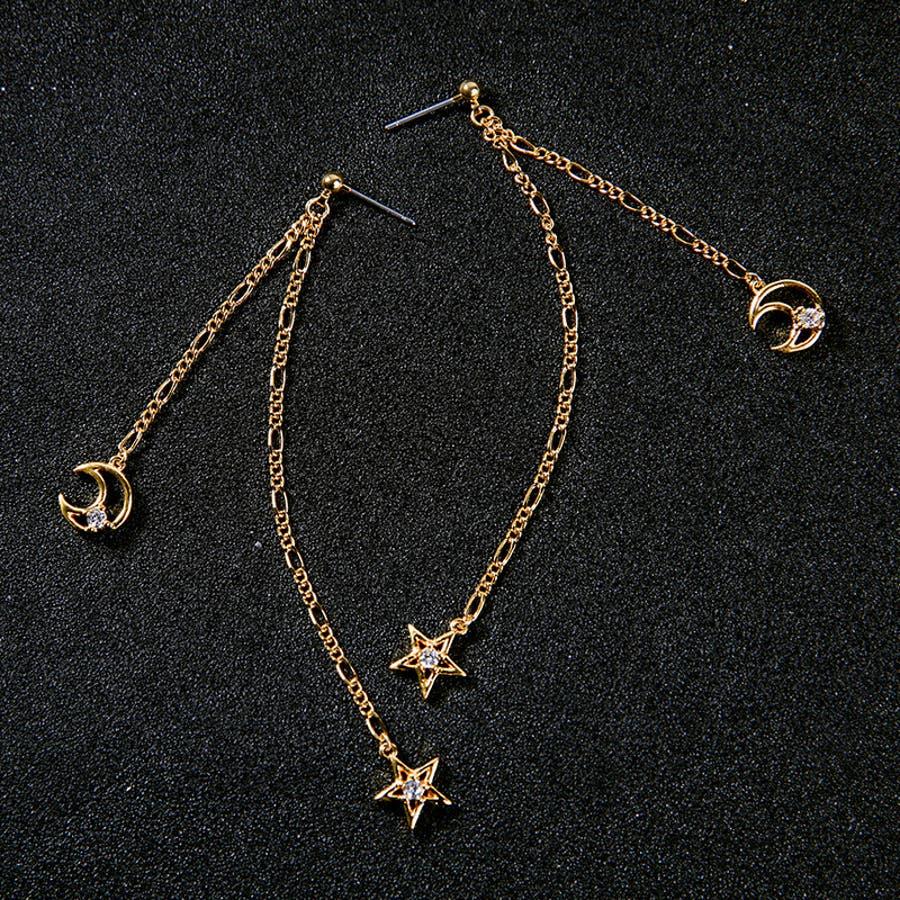 ロングピアス スタッドピアス レディース アクセサリ ファッション小物 装飾品 月型 星型 おしゃれ ギフト プレゼント 贈答品 4