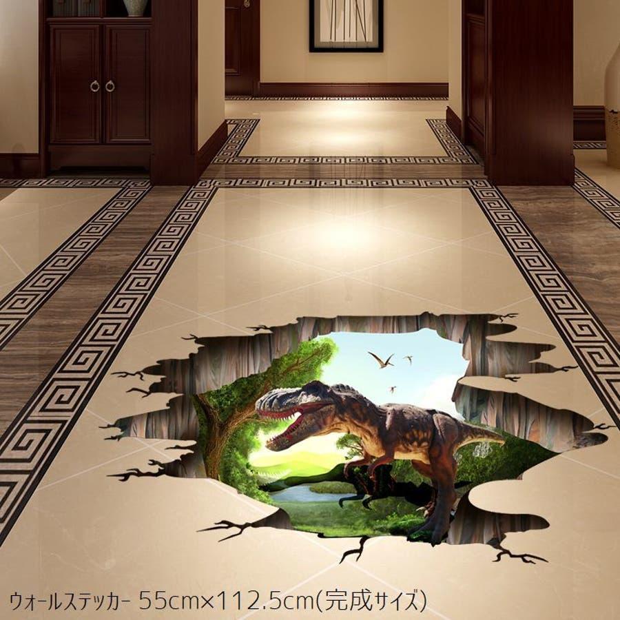 ウォールステッカー ウォールシール 3d 立体 貼ってはがせる 恐竜 ダイナソー トリックアート だまし絵 飛び出す 床 壁紙壁面装飾壁装飾 装飾 飾り付け 飾り 壁 ウォール インテリア 壁シール シール ステッカー 穴 幻想的 壮大 自然 ジュラ 品番 Fq Plusnao