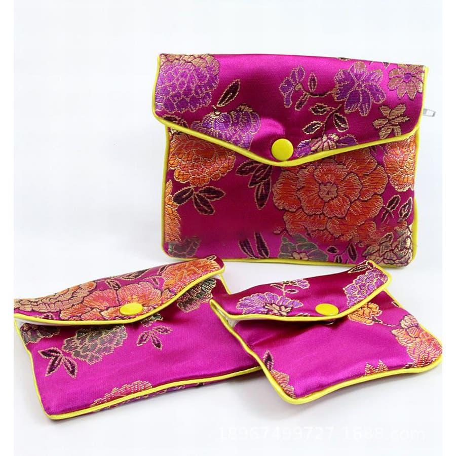 ジュエリーポーチ 小物入れ ミニ財布 ファスナー付き アジアン 古風 刺繍 花柄 全5種類 レディース 2