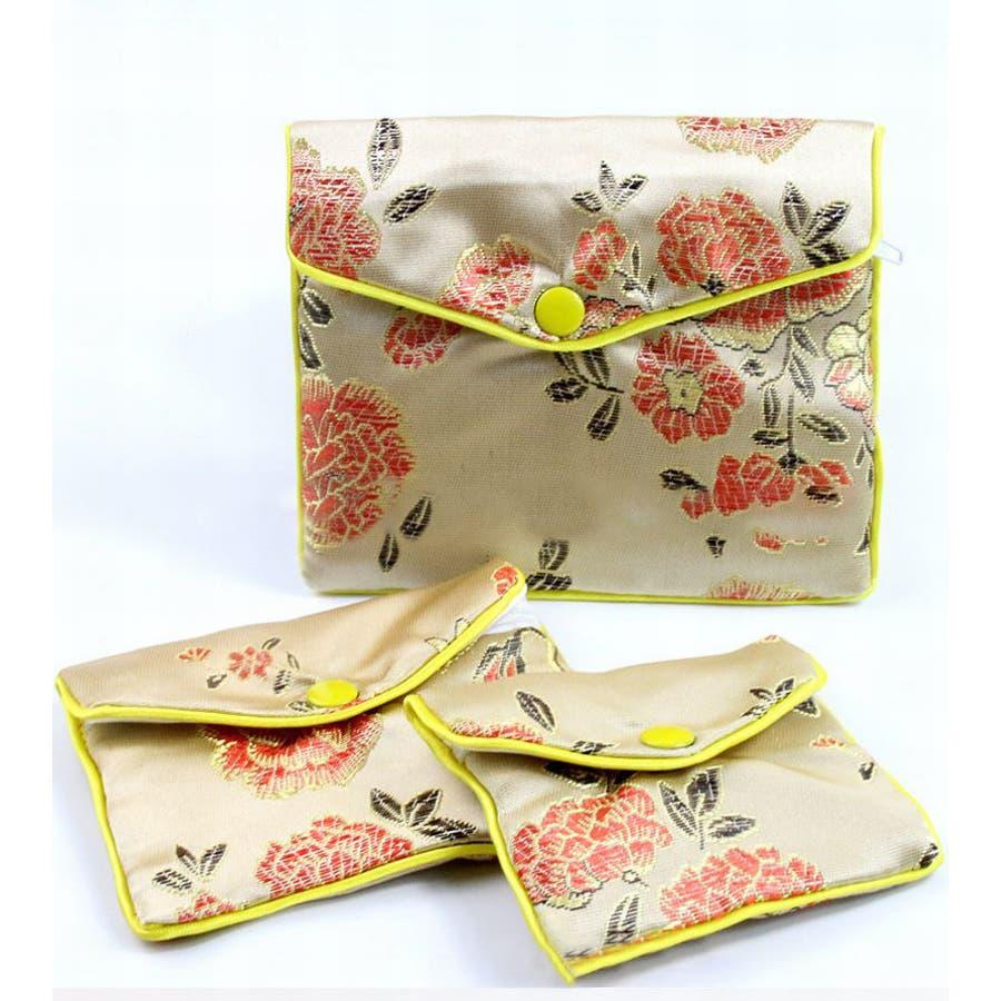 ジュエリーポーチ 小物入れ ミニ財布 ファスナー付き アジアン 古風 刺繍 花柄 全5種類 レディース 3