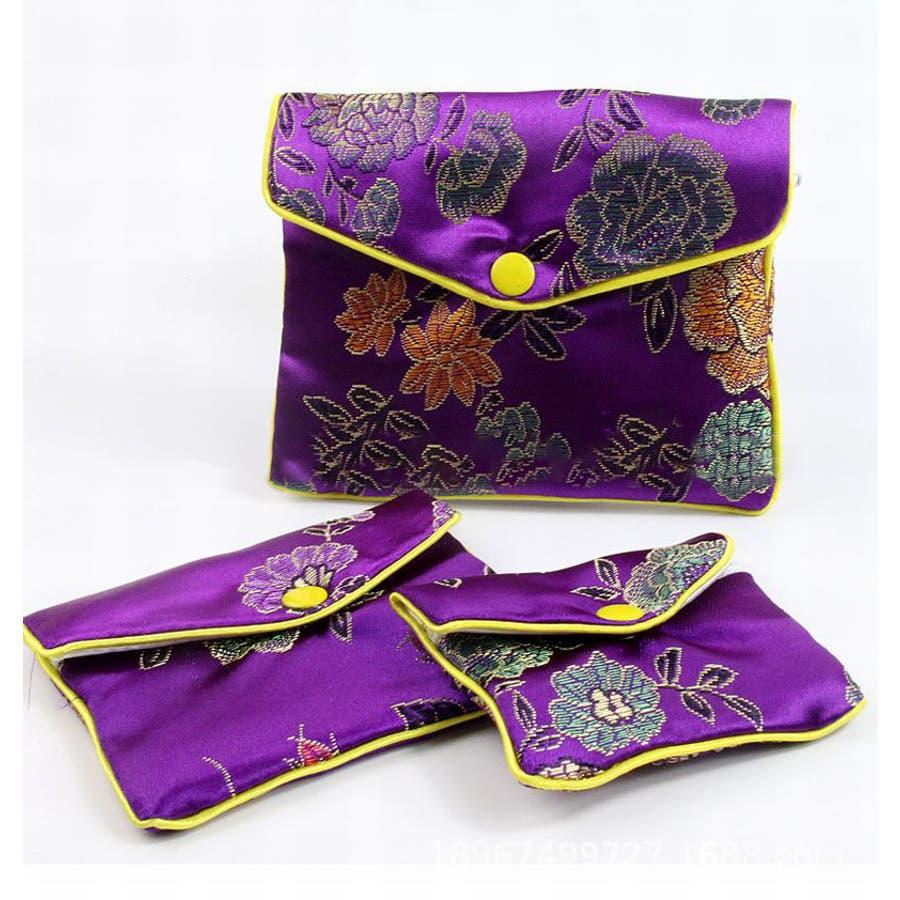 ジュエリーポーチ 小物入れ ミニ財布 ファスナー付き アジアン 古風 刺繍 花柄 全5種類 レディース 4