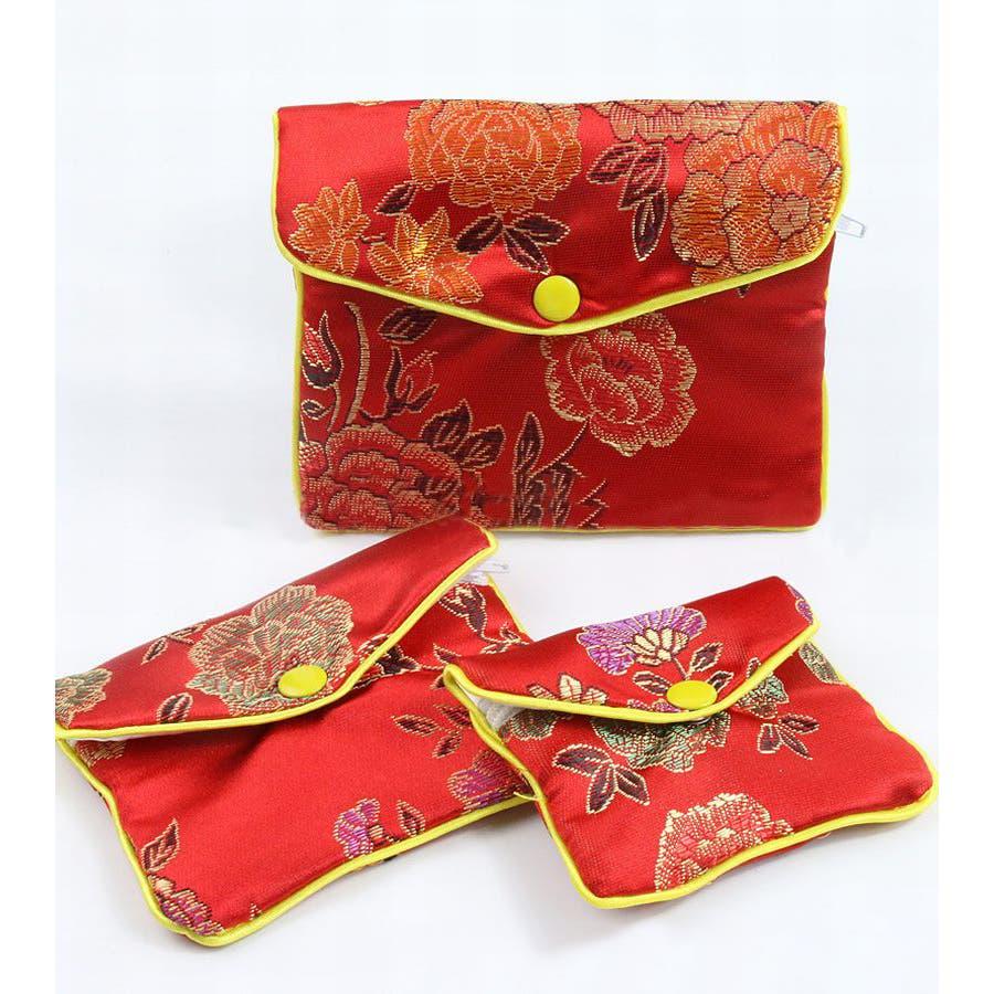 ジュエリーポーチ 小物入れ ミニ財布 ファスナー付き アジアン 古風 刺繍 花柄 全5種類 レディース 5