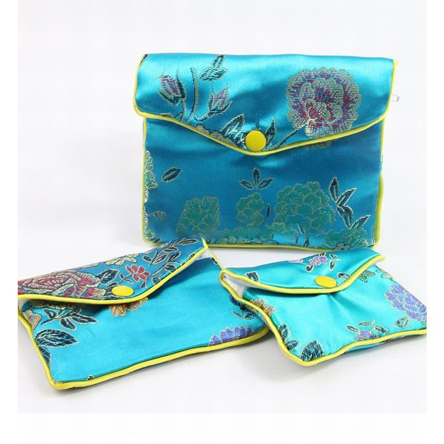 ジュエリーポーチ 小物入れ ミニ財布 ファスナー付き アジアン 古風 刺繍 花柄 全5種類 レディース 6