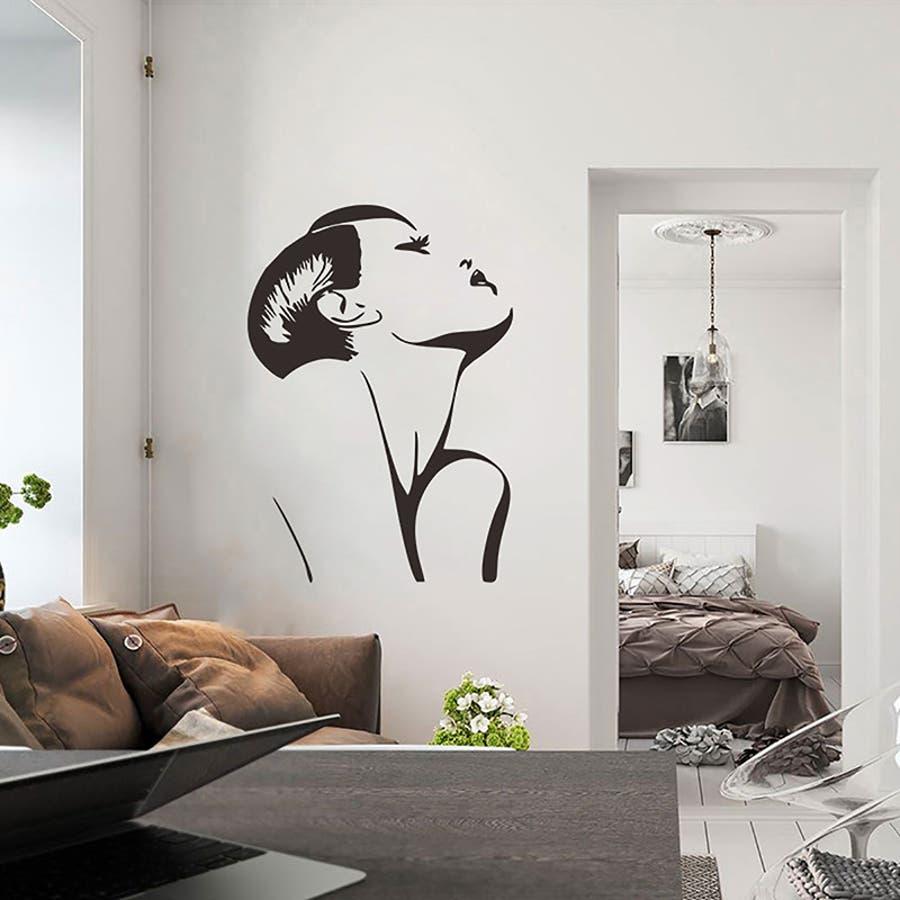 ウォールステッカー 転写式 壁紙シール モノトーン モノクロ 美女 女性