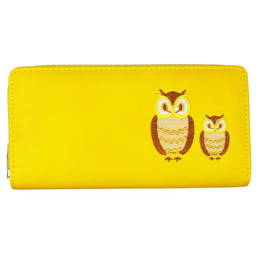 hot sale online a7969 f3012 【福財布】かわいいふくろうの刺繍付き長財布 ラウンドファスナー ウォレット財布 サイフ 梟