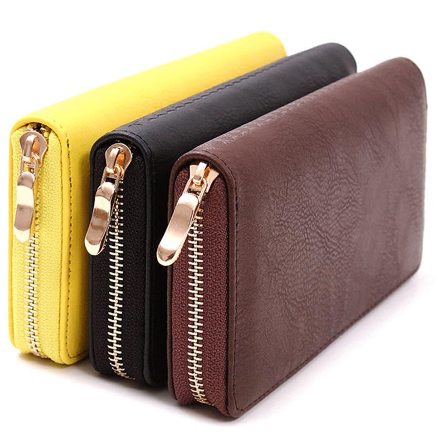 レディースファッション通販【ラウンドファスナー】レザー調型押し長財布 アラベスク ウォレット財布