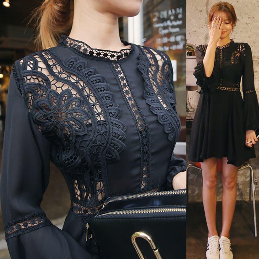 b059c4c7c2733 刺繍編みブラックワンピース ドレス シースルー シフォン素材 袖広がり ...