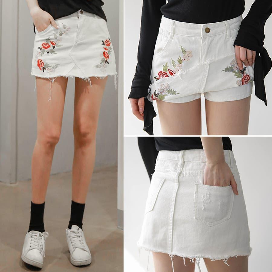 リネン100%リボン付スカートみたいなワイドパンツ