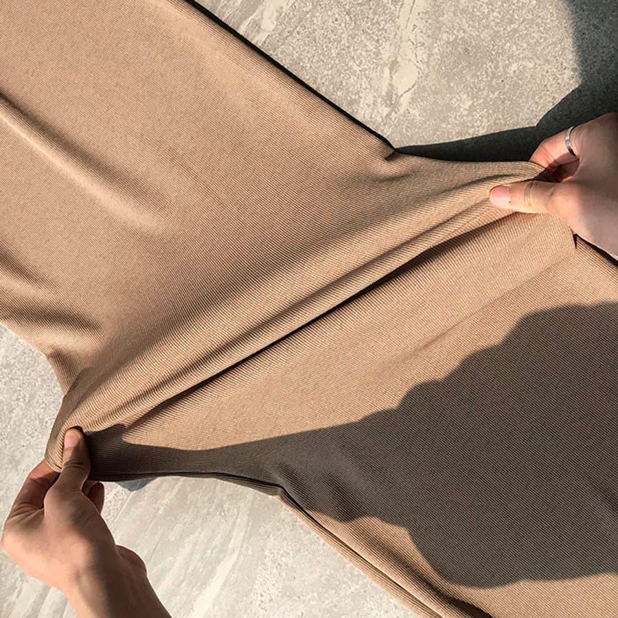 リラックスワイドパンツ/ゆったり/体型カバー/ゴムウエスト/リボン/紐/クロップド丈/リブ/縦ストライプ生地/涼しげ/伸縮/切りっぱなしで軽やかな裾/ルームウェア/ボトムス/デイリー/カジュアル/海/フェス/春夏/春/夏/秋/韓国/韓国ファッション 4