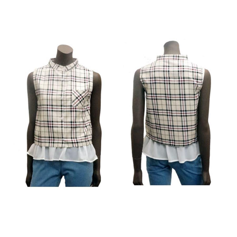 短丈チェックシャツブラウス+フリルヘムタンクトップセッ 2