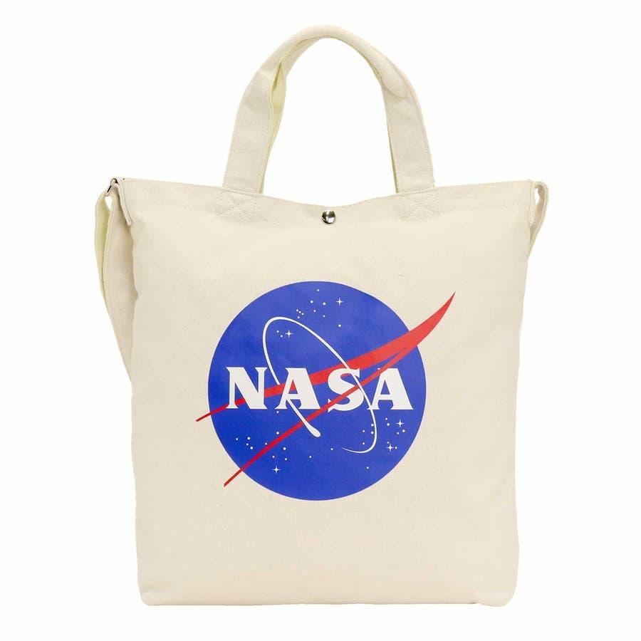 トートバッグ NASA ナサ ショルダートート 2way 斜め掛けショルダー キャンバストート 帆布 エコバッグ レディース 女の子女性 女子 かばん A4 B4 通勤 通学 学生 旅行 宇宙 インサイニア ミートボール 人気 大きめ NSC800 108