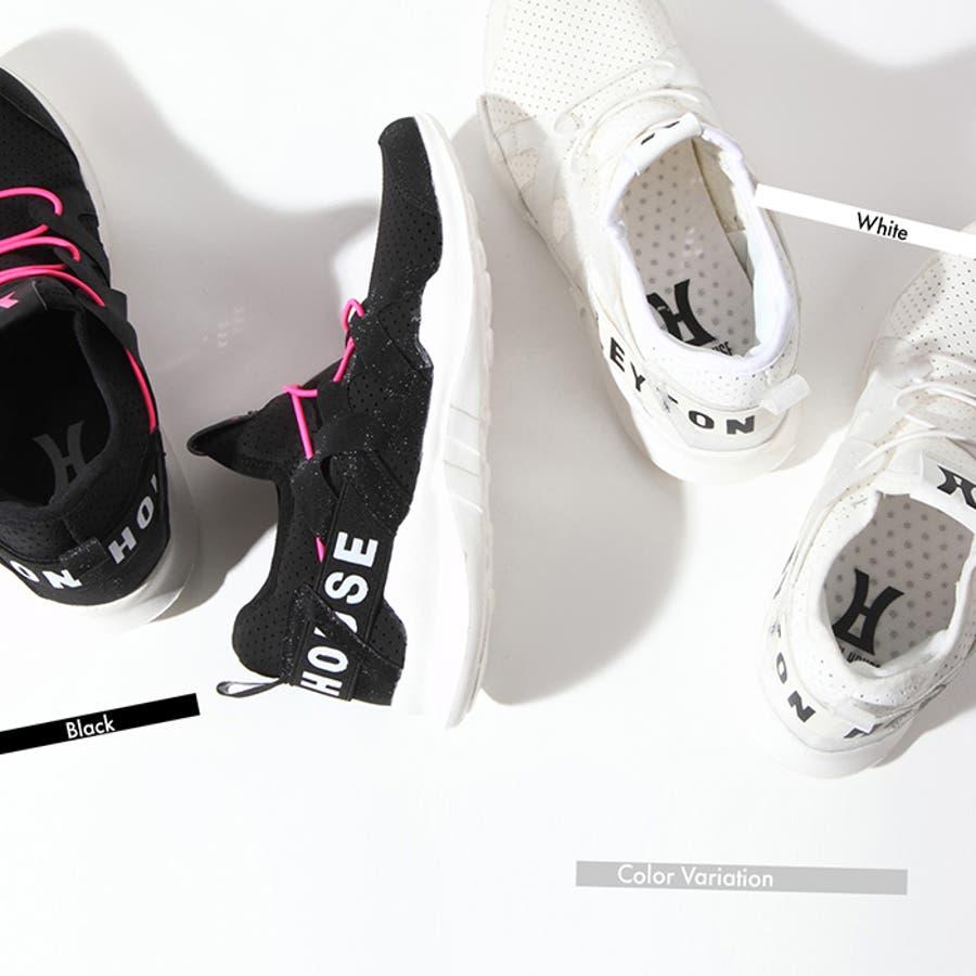 スリッポン スニーカー レディース 女性 婦人 Hero by LEYTON HOUSE 軽い 軽量 シューズ 靴 白 黒 2