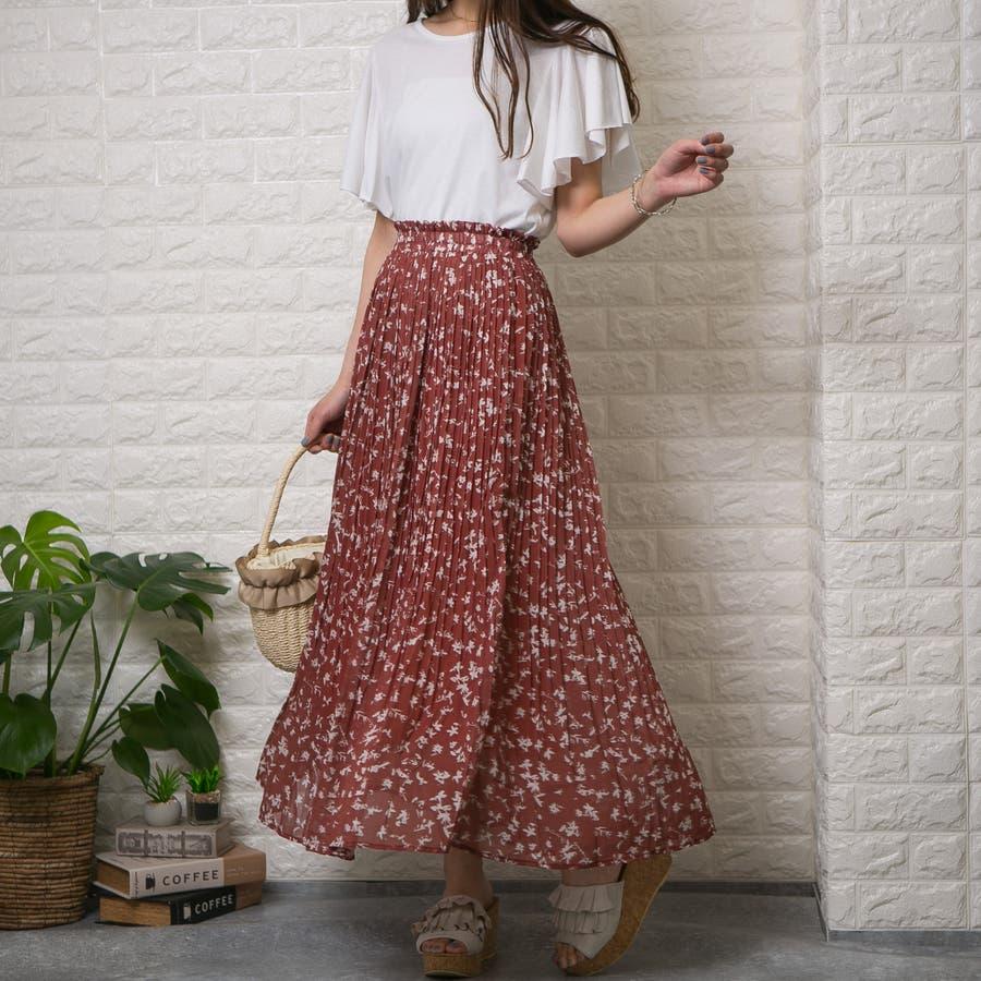 シフォン単色花柄 ロング消しプリーツスカート 3