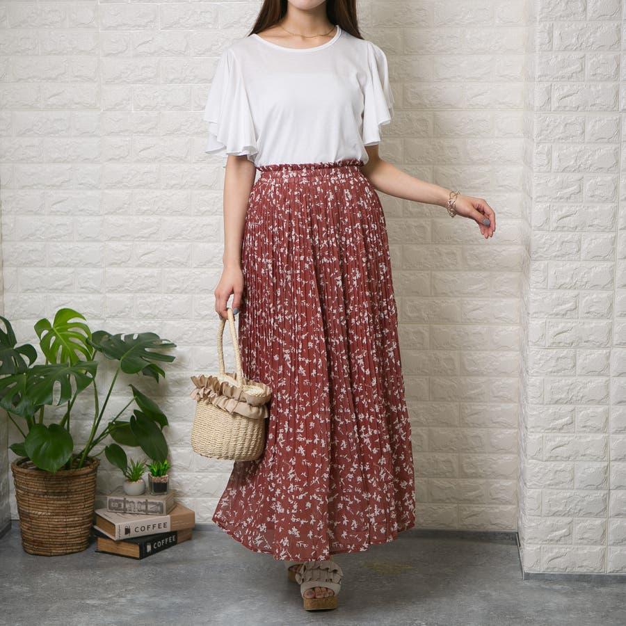 シフォン単色花柄 ロング消しプリーツスカート 4
