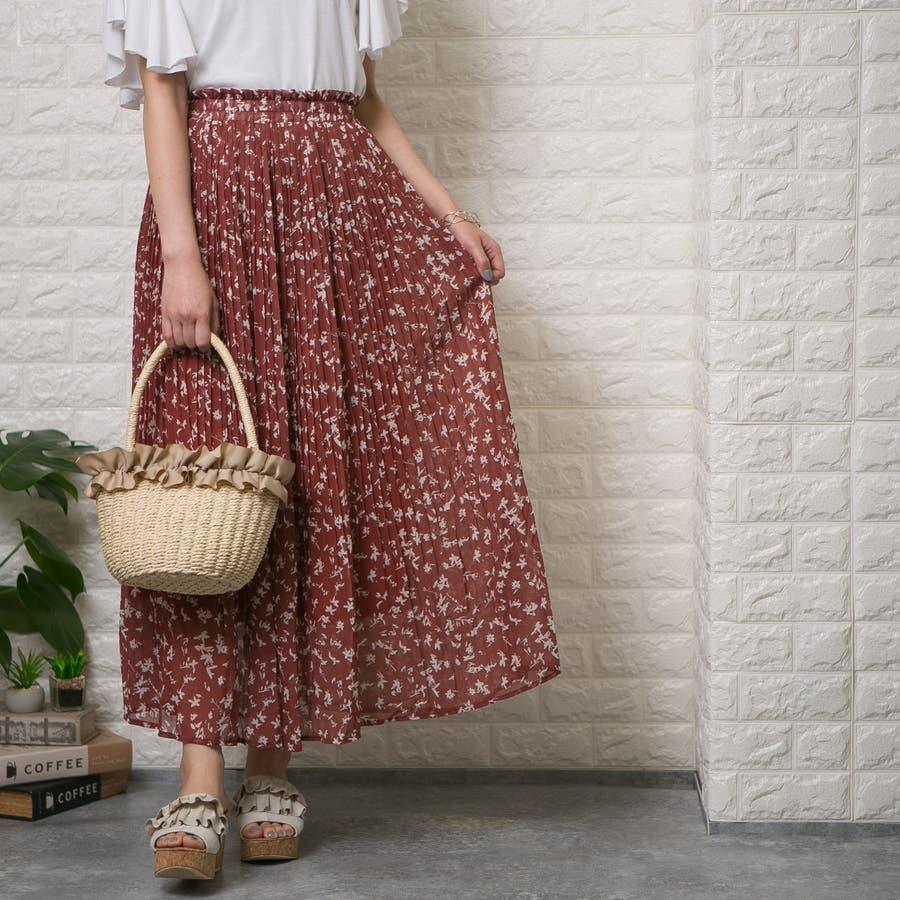 シフォン単色花柄 ロング消しプリーツスカート 6