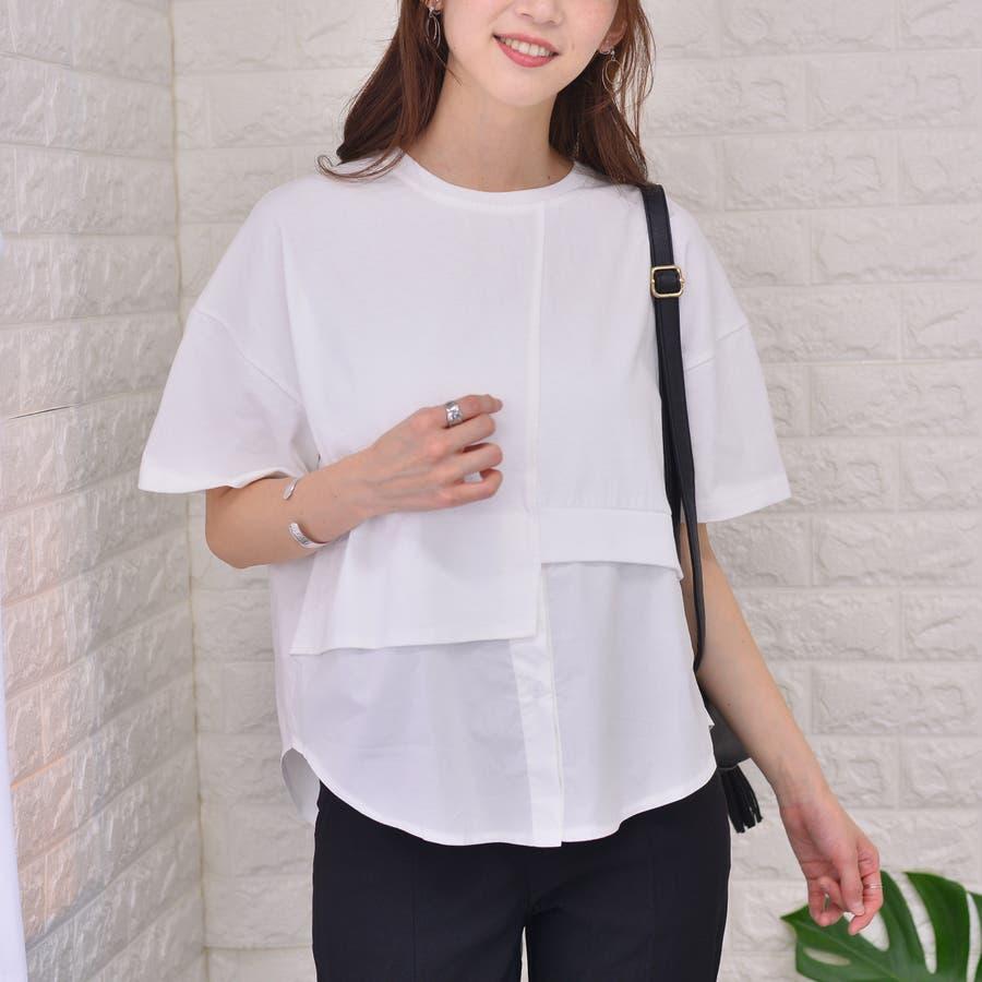 ポリエステルコットン 裾シャツ重ね着風切替えBIGTシャツ 16