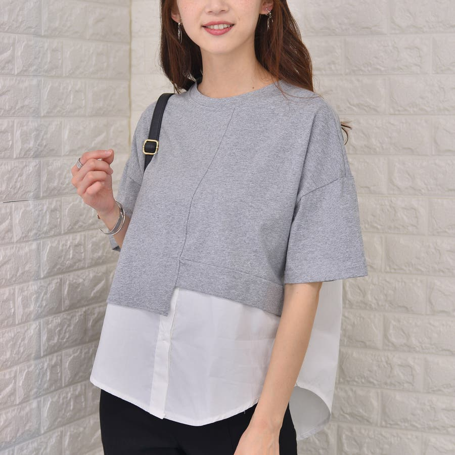 ポリエステルコットン 裾シャツ重ね着風切替えBIGTシャツ 23