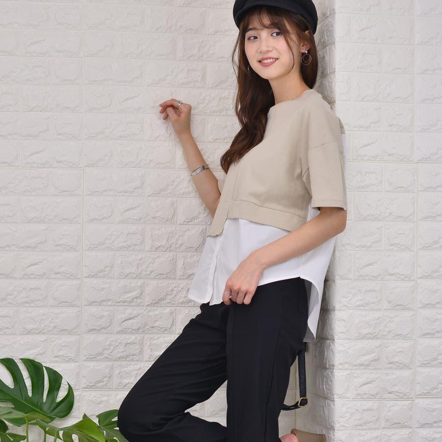 ポリエステルコットン 裾シャツ重ね着風切替えBIGTシャツ 3