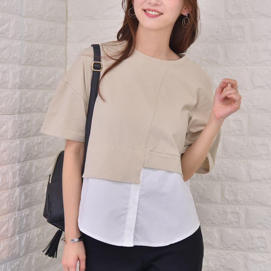 ポリエステルコットン 裾シャツ重ね着風切替えBIGTシャツ 41
