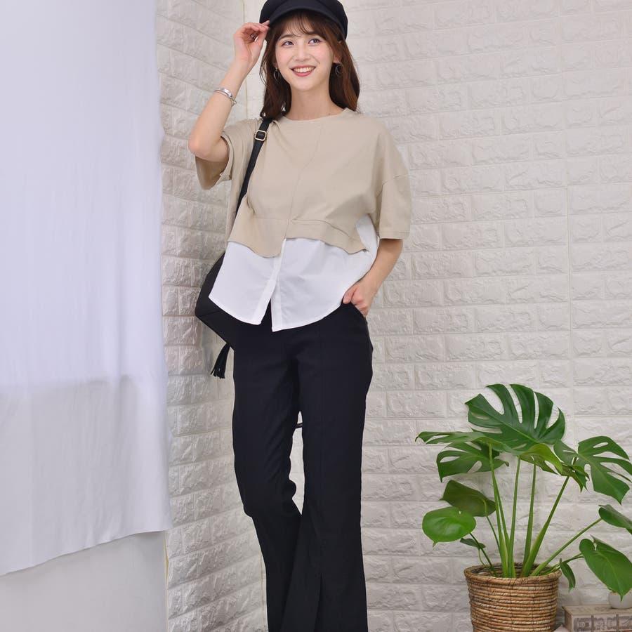 ポリエステルコットン 裾シャツ重ね着風切替えBIGTシャツ 4