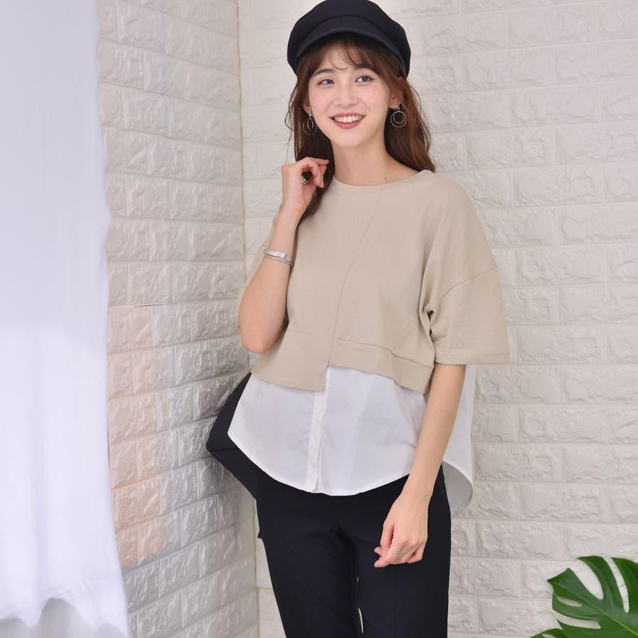 ポリエステルコットン 裾シャツ重ね着風切替えBIGTシャツ 5