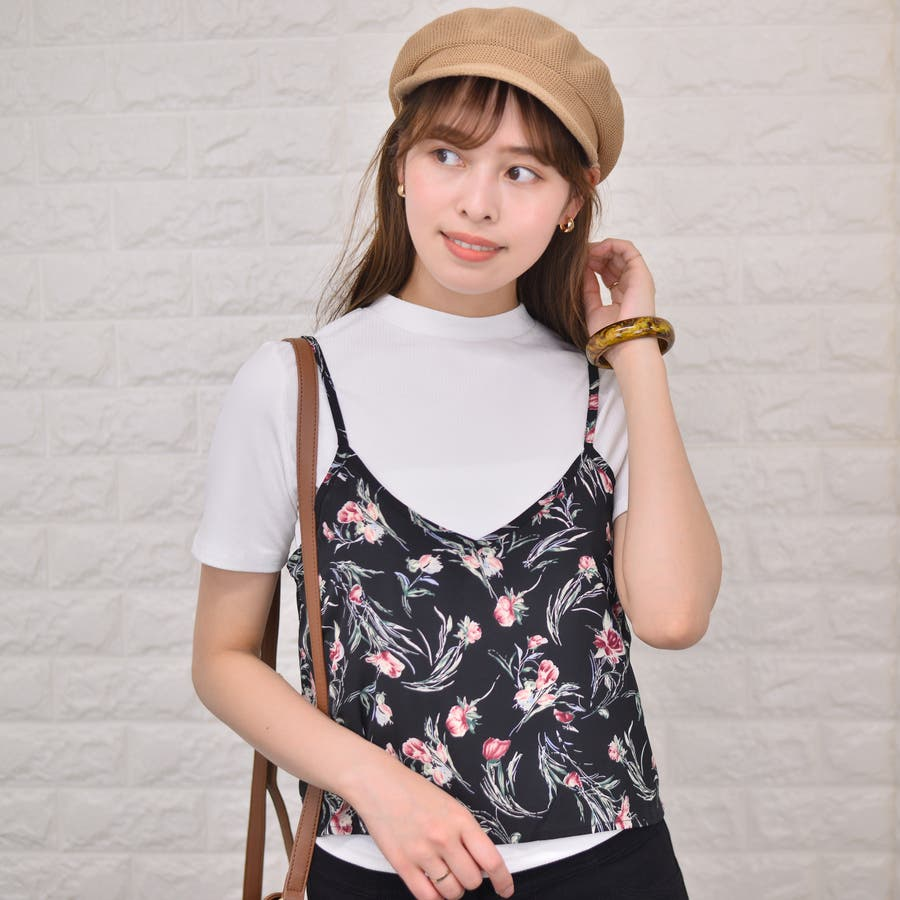 テレコ プチハイネックTシャツ+花柄キャミソール(Set) 21