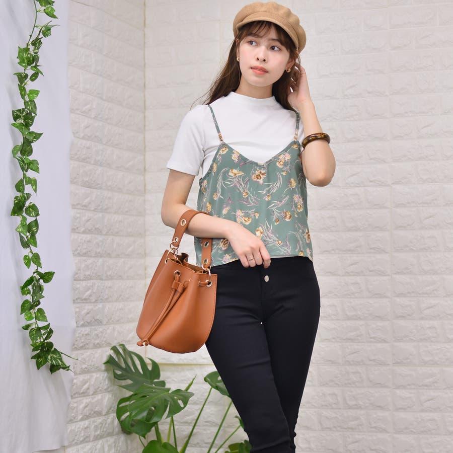 テレコ プチハイネックTシャツ+花柄キャミソール(Set) 3