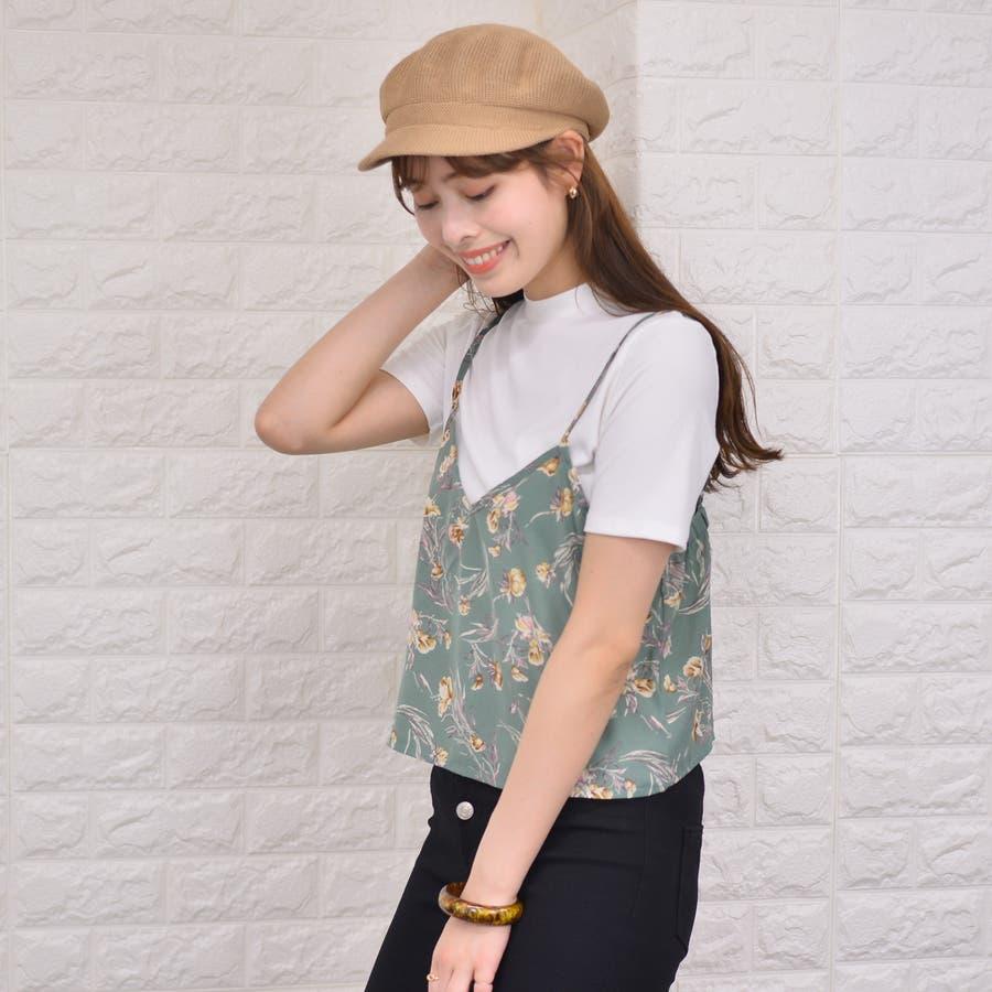テレコ プチハイネックTシャツ+花柄キャミソール(Set) 4