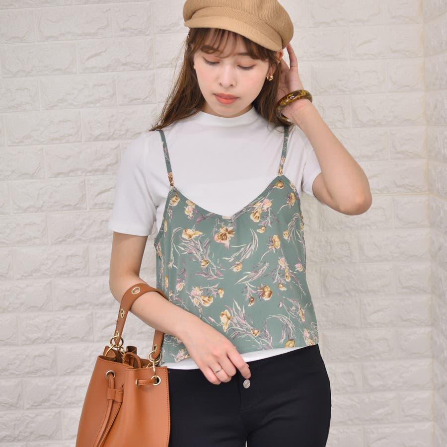 テレコ プチハイネックTシャツ+花柄キャミソール(Set) 50