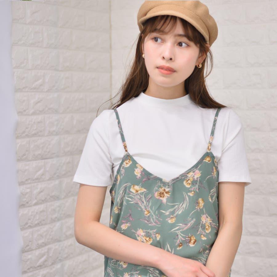 テレコ プチハイネックTシャツ+花柄キャミソール(Set) 5