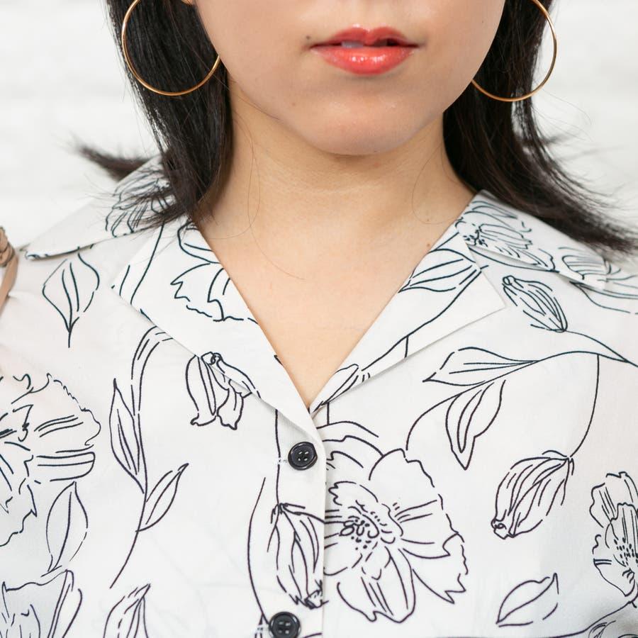 デシン線花柄 長袖BIG開襟ブラウス 7
