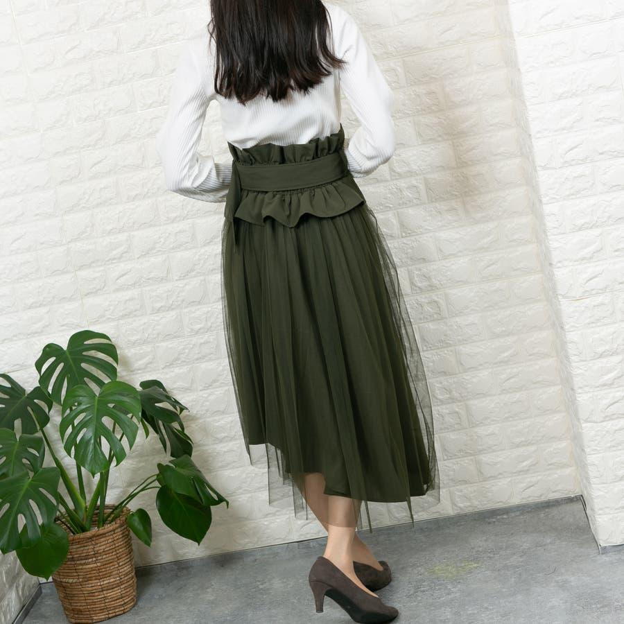 無地平織り+チュール 共生地ベルト付きコルセット風 アシメトリーフレアスカート 4