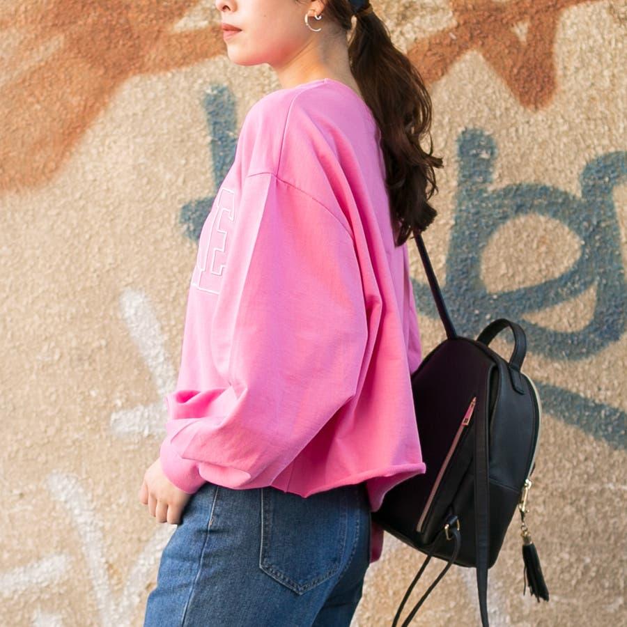 コットン フロント刺繍ロゴ入り 裾切りっぱなしショート丈 BIGTシャツ 7