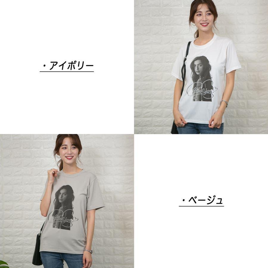 ストレッチ フロントフォトプリント(女性)入り Tシャツ 2