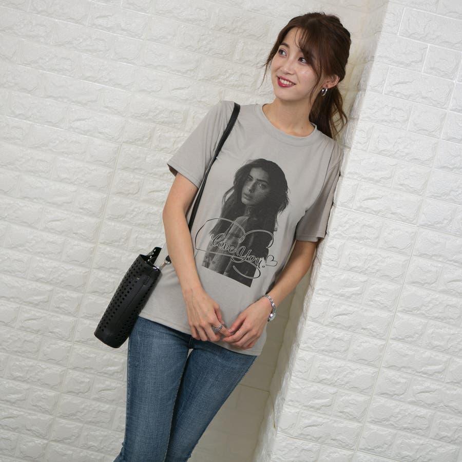 ストレッチ フロントフォトプリント(女性)入り Tシャツ 4