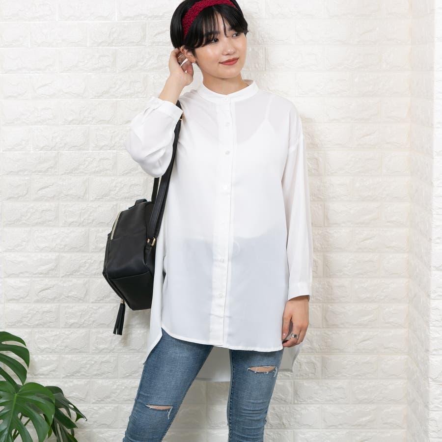 ポリエステルガーゼ バンドカラー スーパーBIGシャツ 16