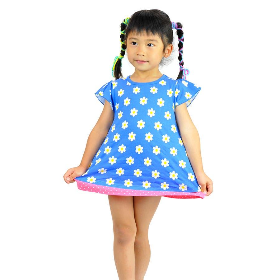 普通に可愛いです! 子ども服 ワンピース キッズ 女の子 花柄&ドット柄 夏物商品 トップス チュニック ピンク ブルー 100cm 110cm120cm 130cm 激動