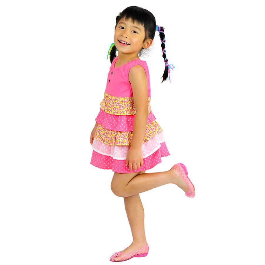 大人っぽコーデを楽しもう 子ども服 ワンピース キッズ 女の子 花柄&ドット柄 夏物商品 ノースリーブ ふりふりワンピース トップス チュニック ピンク ブルー100cm 110cm 120cm 130cm 五穀