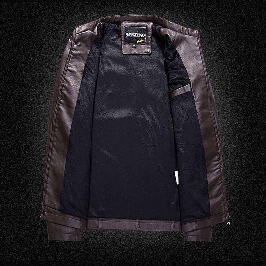 スタンドネック フェイクPUレザー ジャケット 4タイプ メンズ アウター ストリート 秋冬 [10色] #T856 8