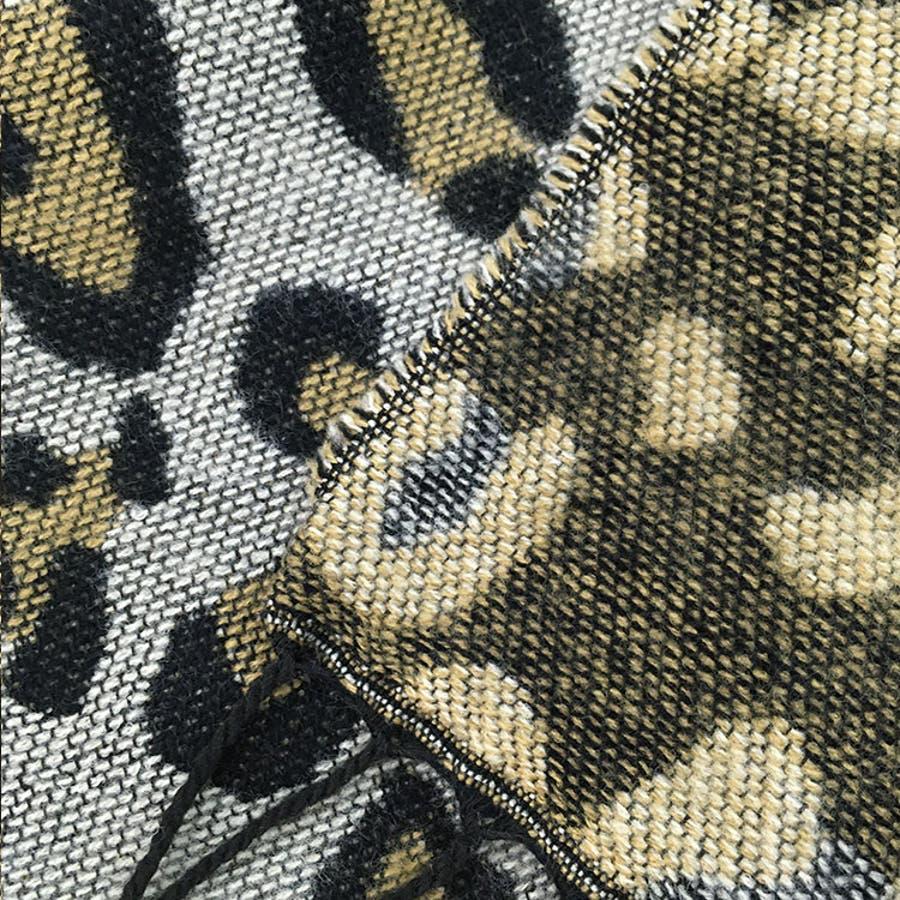 大人っぽい印象のレオパード柄マフラー♪秋冬マフラー ストール ひざ掛け 巻物 ショール ロング 起毛 柔らかい フリンジ レオパード ヒョウ柄 豹柄 大判 暖か 防寒 カジュアル 大人 通勤 通学 レディース オフィス プレゼント クリスマス ギフト 6
