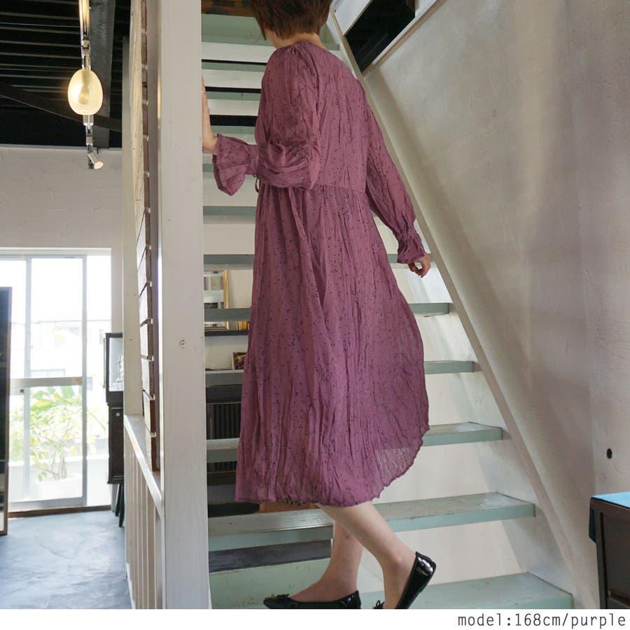 しずく柄大人の透け感ロングワンピース♪秋 春 ワンピース ロング ロングワンピース カシュクールVネック シアー シアー素材 柄 しずく ドット 長袖 フレア ドレス クラシック きれいめ 韓国ファッション 大人 通学 通勤 女性 レディース 5