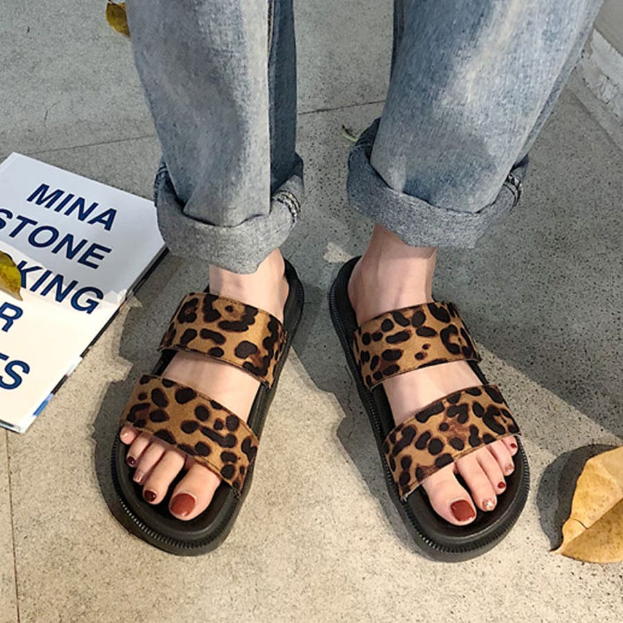 ヒョウ柄ダブルベルトコンフォートサンダル♪春 夏 サンダル ローヒール ぺたんこ シューズ 靴ビーチサンダル コンフォートサンダル ヒョウ柄 ダブルベルト カジュアル 海 リゾート お出かけ 楽ちん 歩きやすい レディース 4